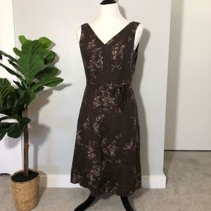 Adrianna Papell | Brown Linen Embroidered Dress